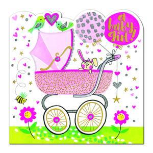 Rachel Ellen Baby Girl Pram Card (SPIR15)