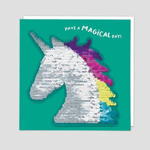 Redback Cards Have A Magical Day Unicorn Sequin Card (SQ01)