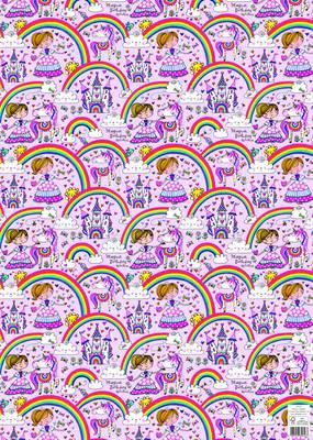 Rachel Ellen Flat Wrap - Princess & Rainbows (WP132)