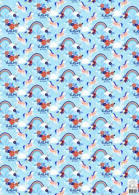 Rachel Ellen Flat Wrap - Birthday Wishes Unicorns (WP138)