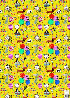 Rachel Ellen Flat Wrap - Happy Birthday Cats & Dogs (WP149)