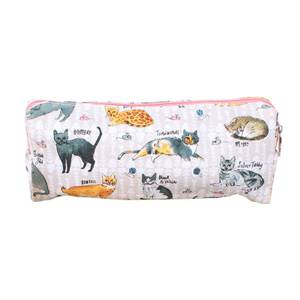 Milly Green Curious Cats Pencil Case - 100% Recycled Cotton