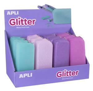 Apli Silicon Pencil Cases Soft Glitter Asstd