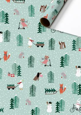 Stewo Christmas Roll Wrapping Paper - Josefina (Mint)