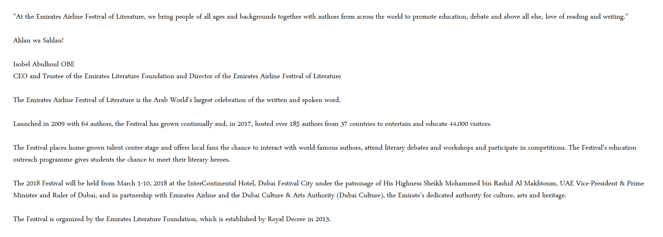 Emirates Airline Festival of Literature - about us